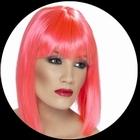 Glam Perücke Neon pink
