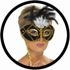 2 x VENEZIANISCHE STABMASKE SCHWARZ GOLD