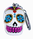 5 x CANDY SKULLS LED KEYCHAIN WHITE