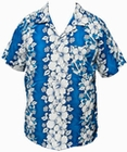 3 x HAWAII HEMD - FLOWERS & ANCHOR - HELLBLAU