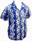 13 x HAWAII HEMD - FLOWERS & GUITARS - DUNKELBLAU