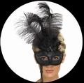 VENEZIANISCHE STABMASKE SCHWARZ MIT FEDERN - Masks - Venezianisch