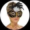 VENEZIANISCHE STABMASKE SCHWARZ GOLD - Masks - Venezianisch