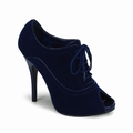 WINK-01 - DARKBLUE VELVET PEEP-TOE LACE-UP PUMP - Schuhe - Bordello - Wink