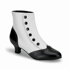 FLORA-1023 - WHITE AND BLACK SPAT ANKLE BOOTS