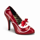 TEMPT-02 - RED PATENT PUMP WITH WHITE DETAIL